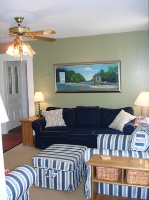 Wellfleet Cape Cod vacation rental - Living room bright, cheerful & TV too.