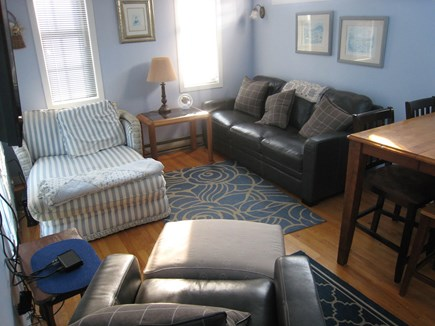 New Seabury New Seabury vacation rental - LR - leather sofa & chair;  chaise,  wall TV, kitchen table