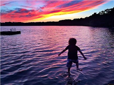 Eastham Cape Cod vacation rental - Sunset on Herring Pond.  Drinks down. Time for Skinny Dipping!