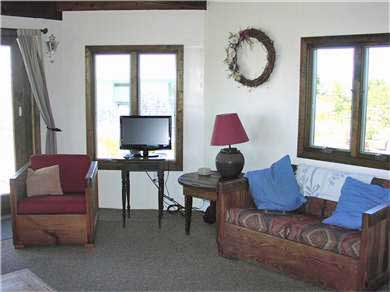 Fisher Beach, Truro, Cape Cod Cape Cod vacation rental - Living Area with TV and built-in DVD