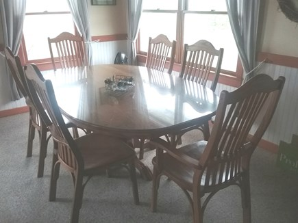 Next to Fisher Beach, Truro, C Cape Cod vacation rental - Large dining table with views of water.