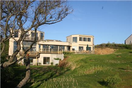 North Truro Cape Cod vacation rental - House from edge of dune