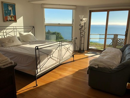 North Truro Cape Cod vacation rental - King bedroom with deck on Provincetown side of house