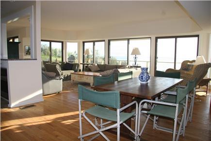 North Truro Cape Cod vacation rental - Open living room/game table & water vistas
