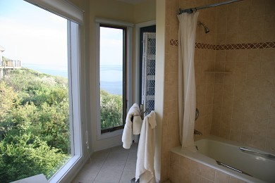 North Truro Cape Cod vacation rental - Master bath with dune and water vistas