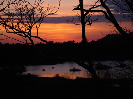 Provincetown Cape Cod vacation rental - Sunset over the ponds in front of the house.