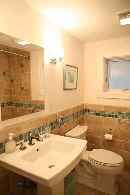 Chequessett Neck Wellfleet Cape Cod vacation rental - Hall bath with designer tile, tub/shower Private outdoor shower