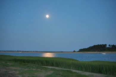 Chequessett Neck Wellfleet Cape Cod vacation rental - Full moon over the water as seen from our deck facing east