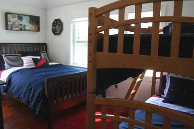 New Seabury, Mashpee New Seabury vacation rental - Nautical themed third bedroom with queen bed and set of bunks