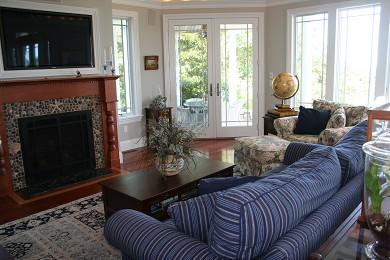New Seabury, Mashpee New Seabury vacation rental - Comfy living room, 50'' high def tv, gas fireplace, ocean views!