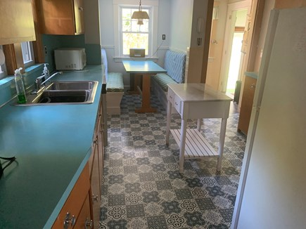 Falmouth Village Cape Cod vacation rental - Cool kitchen, eat-in, fully setup with utensils, plates, etc.
