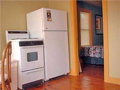 Provincetown Cape Cod vacation rental - Kitchen with full sized fridge and gas stove