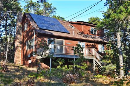 Wellfleet, Indian Neck Cape Cod vacation rental - Front view of the deck and our new solar installation