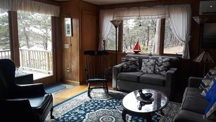 Wellfleet, Indian Neck Cape Cod vacation rental - Open living room with slider to deck