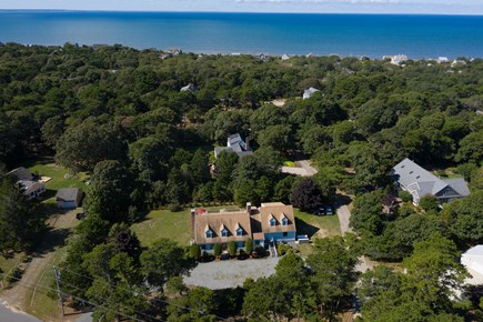 Eastham Cape Cod vacation rental - View of our home and the beach- 1 block