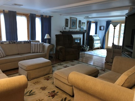 Eastham Cape Cod vacation rental - Main House Living Room with four couches and fireplace!