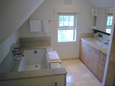Provincetown Cape Cod vacation rental - Master Bathroom in Marble