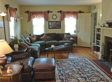 Hyannis Cape Cod vacation rental - Large living room with fireplace, new high def TV...