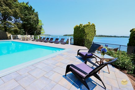 East Orleans Cape Cod vacation rental - Breakfast by the pool, with views of Nauset Beach