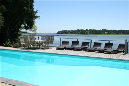 East Orleans Cape Cod vacation rental - Breakfast by the pool, with views of Nauset Beach & Pochet Inlet