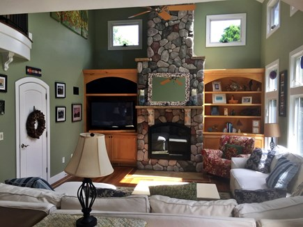 Orleans Cape Cod vacation rental - Vaulted Great Room, watch TV on the expansive sectional couch