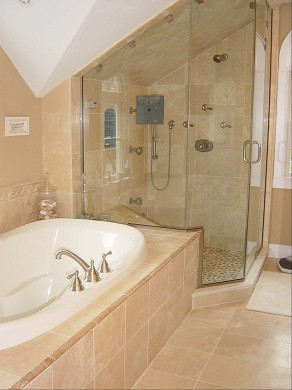 Orleans Cape Cod vacation rental - The master bathroom, steam shower and jacuzzi tub