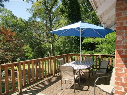 9 Pond Road, Orleans Cape Cod vacation rental - 600 Sq Ft Deck Showing Table Looking Towards Lake