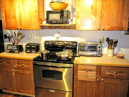 Wellfleet Cape Cod vacation rental - Kitchen. Opposite, there's a large kitchen island with 4 stools