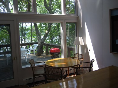 South Truro-Wellfleet line Cape Cod vacation rental - Dining Area Overlooking Private Deck and Pond