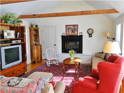 Brewster, old historic district Cape Cod vacation rental - Family Room with entertainment center and gas fireplace