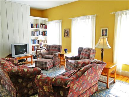 Brewster, old historic district Cape Cod vacation rental - Sunny Living Room with comfortable seating, TV