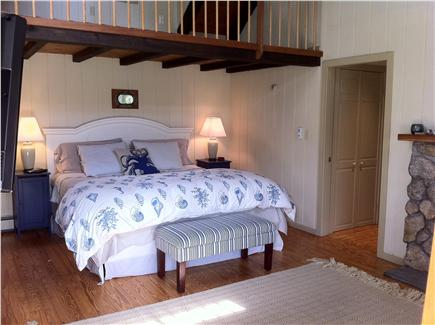 Falmouth Cape Cod vacation rental - King bedroom  with cathederal ceilings and fireplace