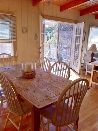 Falmouth Cape Cod vacation rental - Dining area with skylights and French doors to upper dining deck