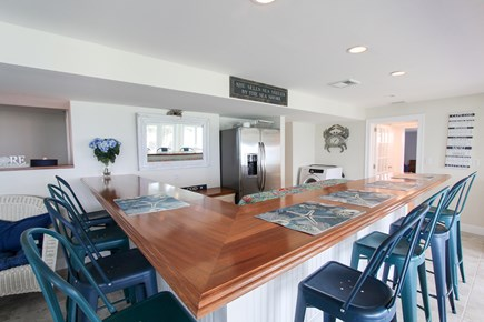 Barnstable Cape Cod vacation rental - Bar - sink, full sized fridge, 8 stools & ocean views