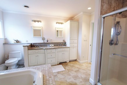 Barnstable Cape Cod vacation rental - Master Bathroom with Double Vanity, Whirlpool Tub & Sep. Shower.