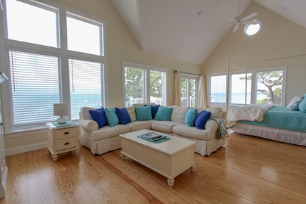 Barnstable Cape Cod vacation rental - Ocean front master bedroom with private deck & gas fireplace