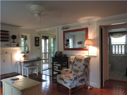 South Harwich Cape Cod vacation rental - Living room w/fireplace, queen sofabed, cable TV