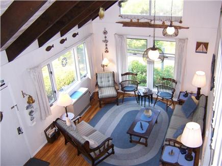 Lookout Bluff,  Truro Cape Cod vacation rental - Living room with open beamed ceiling.