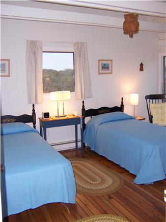 Lookout Bluff,  Truro Cape Cod vacation rental - Upstairs bedroom, twin beds, beneath open beamed ceiling