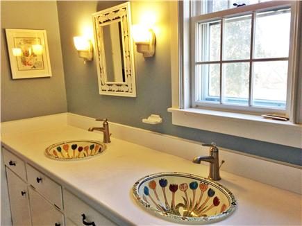 Barnstable Village Cape Cod vacation rental - Downstairs bathroom with double Talavera sinks, tub with shower