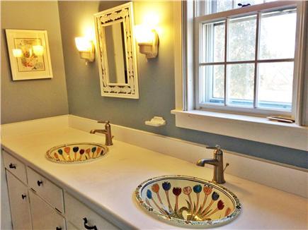 Barnstable Village Cape Cod vacation rental - Downstairs full bathroom double Talavera sinks