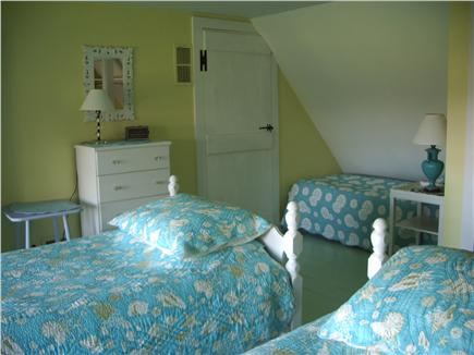 Barnstable Village Cape Cod vacation rental - Turquoise bedroom (3 twins-or king w/converter w/ waterview)