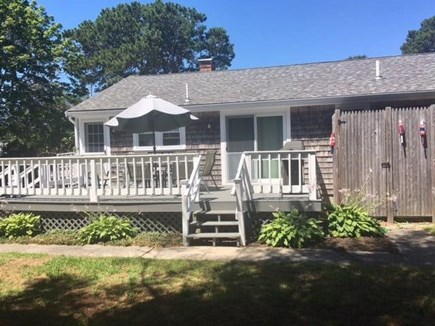 Dennisport Cape Cod vacation rental - Huge deck for outdoor dining.  Outdoor shower has changing area!