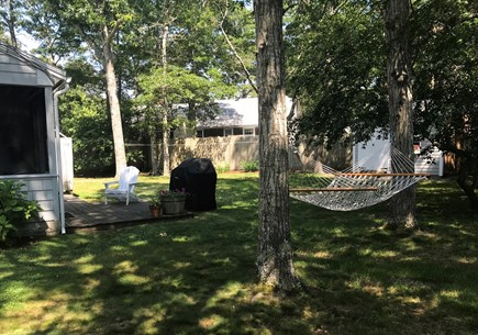 South  Yarmouth, Bass River Cape Cod vacation rental - Partially fenced private yard with outside shower.