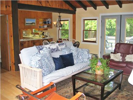 Brewster Cape Cod vacation rental - Open living area cooled by quiet ceiling fan and window A/C