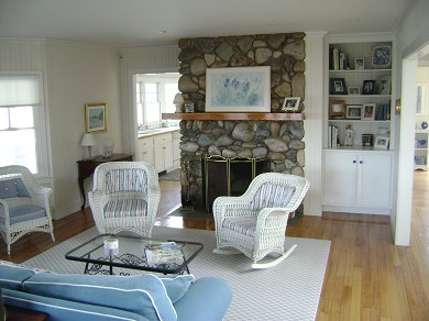 North Falmouth (Megansett) Cape Cod vacation rental - Living Room with Fireplace