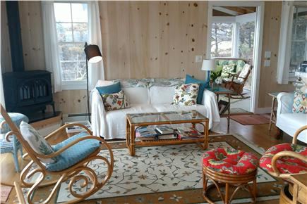 Wellfleet Cape Cod vacation rental - Charming living room and fireplace.