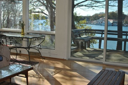 Woods Hole Woods Hole vacation rental - View of the deck from the living room.