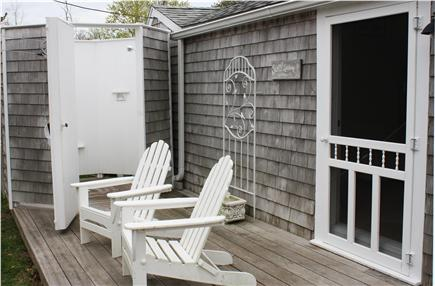 Dennis Bayside Cape Cod vacation rental - Walk from the bedroom onto the deck to a huge outdoor shower