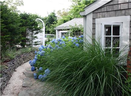 Dennis Bayside Cape Cod vacation rental - Wrap-around walkway and field stone walls